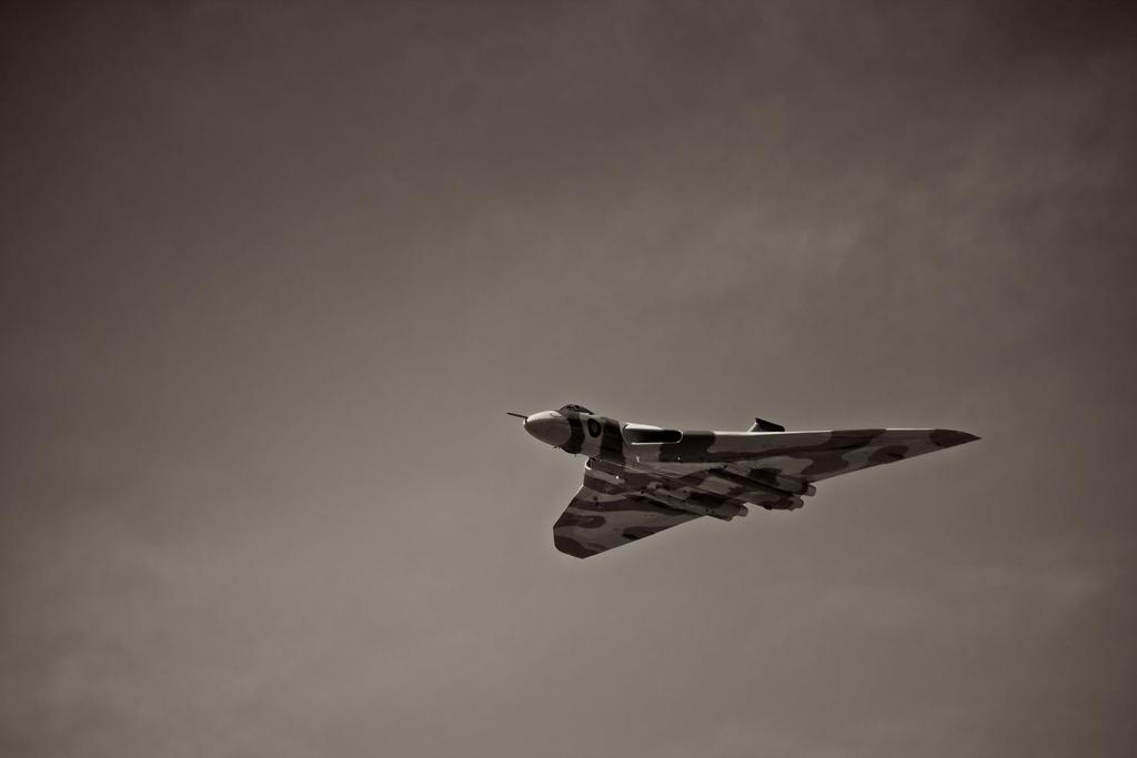 Black and White Avro Vulcan flying